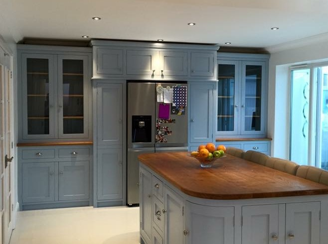 Fully bespoke solid wood shaker kitchen individually designed.Feature island site with solid oak surface top.