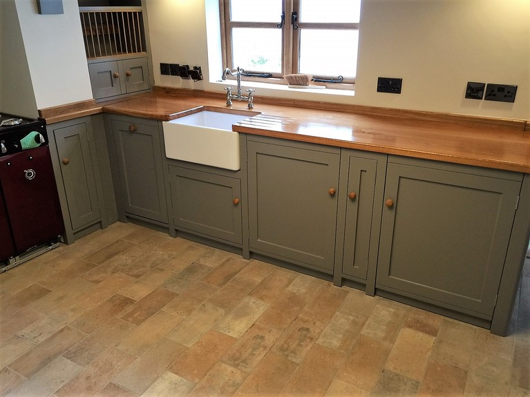 Fully bespoke fitted kitchen made from solid wood in shaker stlyle,solid oak work top.
