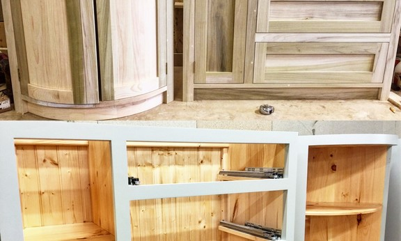 Examples of our beautiful hand built solid wood kitchen furniture made from poplar to a fully bespoke design