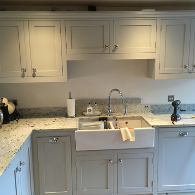 Individually tailored solid wood shaker style kitchen with double belfast sink hand built from solid wood in Nottingham.
