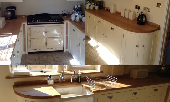 Examples of our fully bespoke solid wood shaker style kitchens painted in Farrow& Ball paint.